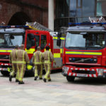 Leeds,,Uk,-,July,12,,2016:,Firefighters,Walk,To,Their